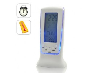 Digital Alarm Clock with Thermometer and Blue Backlight