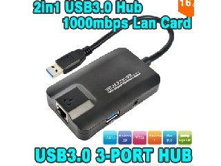 2 in 1 External USB 3.0 3 Port Hub to Gigabit Ethernet Adapter USB3.0 Hub to RJ45 1000Mbps Lan Card