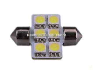 IH-Festoon-10D50S Super Bright Led License Plate Light Bulbs 12 Volt 6PC 3 Chip SMD 5050