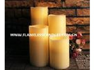 Modern Straight Edge LED Flameless Candle , Flickering White LED Pillar Candles