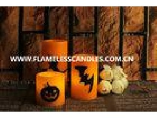 Custom Orange Wax Halloween LED Candles Flameless for Halloween Decoration Products