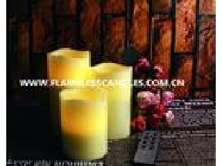 Ivory Wax Pillar LED Remote Control Flameless Candles for Christmas or Event