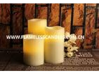 Flameless LED Candles / Large White Pillar Candles With Moving Sensor And Wavy Edge