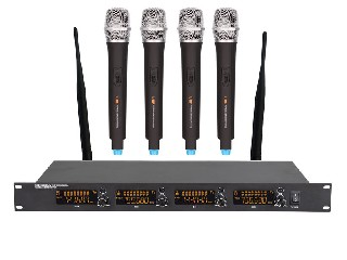 6046 Pro 4 channels UHF wireless microphone system LCD color display 4 MICS rack mount LS-6046