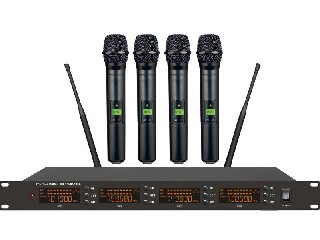4900 4 channels UHF wireless microphone system IR selectable PLL digital display LCD LS-4900