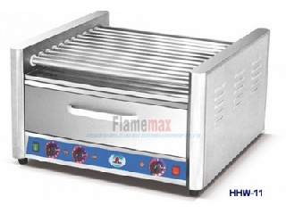 HHW-11 11-roller hot dog grill with food warmer
