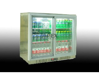 210L Two Sliding Doors Back Bar Beer Cooler for Beverage Low noise BB-210DS