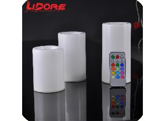 LIDORE holiday White Carved Wax Roses Flameless Pillar LED Wedding Candles