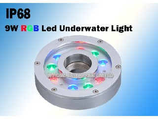 9W RGB DC12V/24V Underwater LED Fountain Lights Made of Stainless Steel   IH-SD-FL9X1F