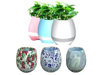 Touching Flower To Sing, Smart Music Flowerpot With Bluetooth Speaker and LED Lamp 3G618