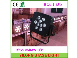 9PCS RGBAWUV Flat led parf,yilong stage lighting