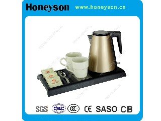 Golden Finished Kettle with Tray Set   G-K42K
